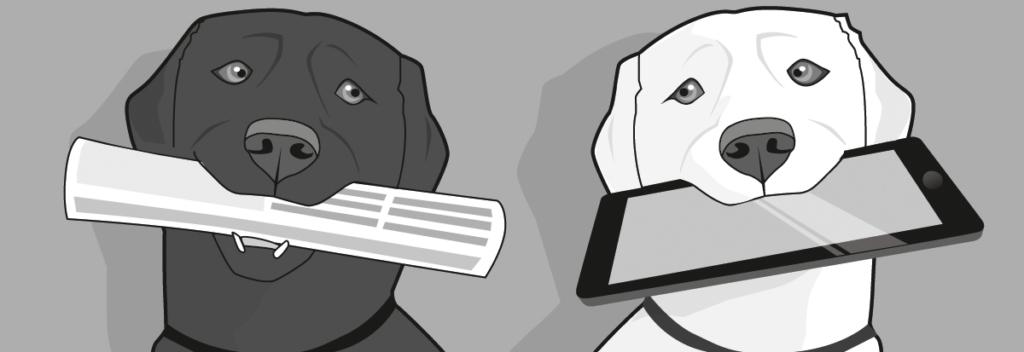 Hund mit Zeitung, Hund mit Tablet