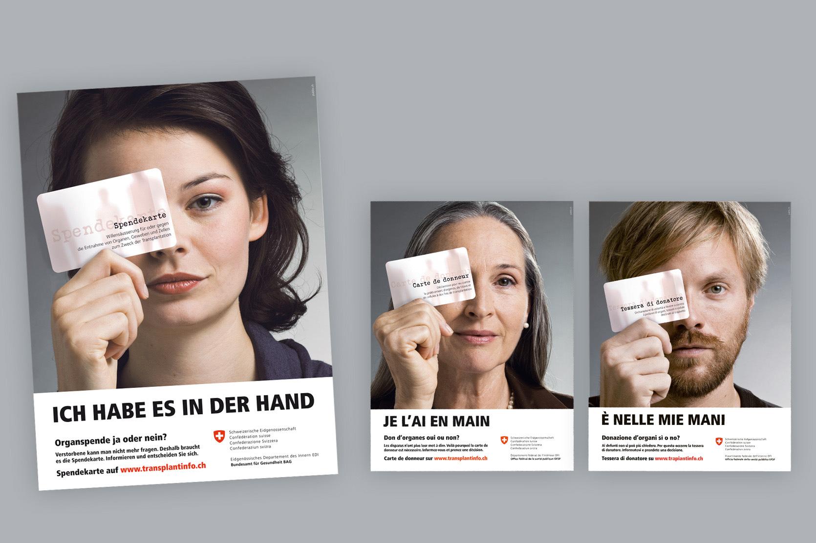 Plakate Organspende-Kampagne, Bundesamt für Gesundheit
