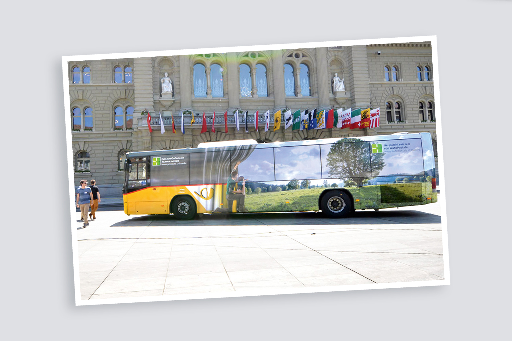 Busbeschriftung, Schweizer Pärke / PostAuto