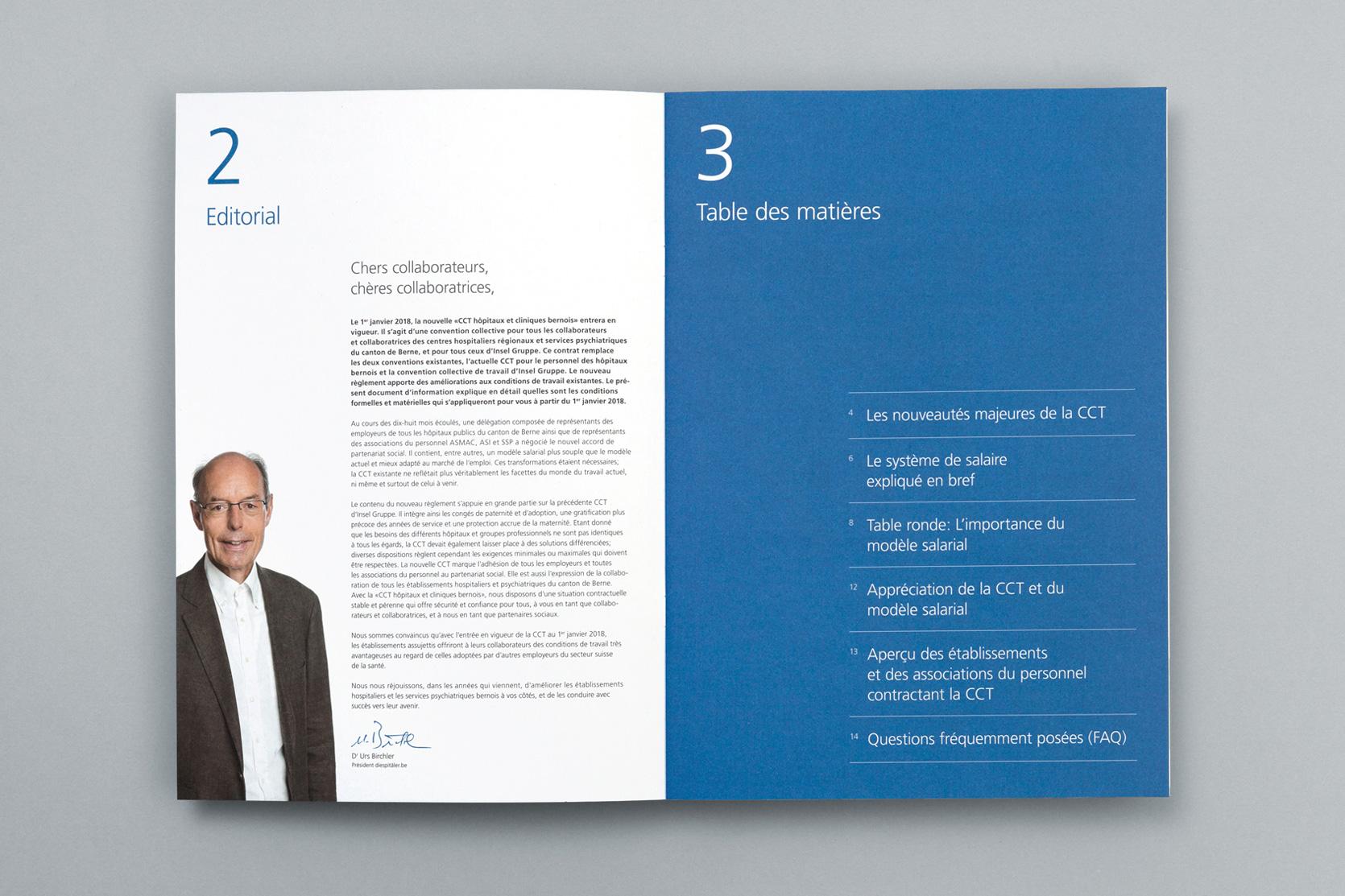 Broschüre Gesamtarbeitsvertrag, Berner Spitäler