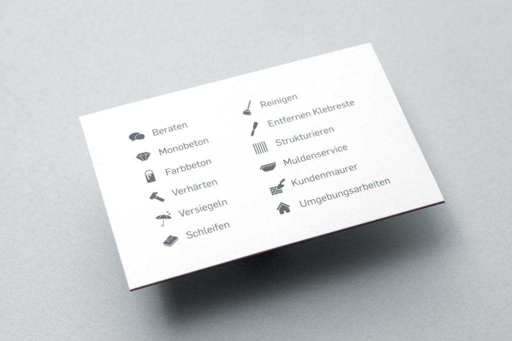 Rückseite Visitenkarte Monobeton
