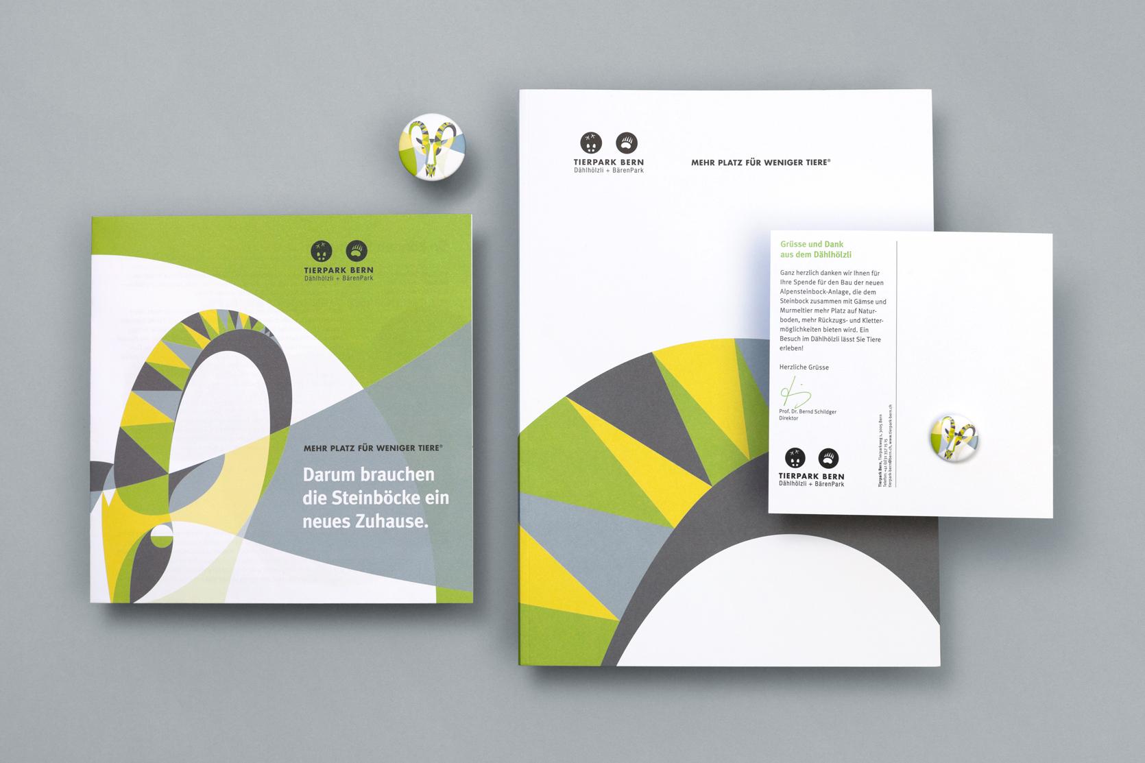 Zeitungsbeilage, Pin, Magnet, Imagebroschüre und Dankeskarte Fundraising Steinbockanlage, Tierpark Bern