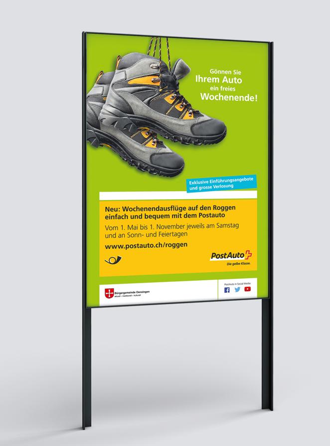Plakat F4 Ausflug Roggen, PostAuto